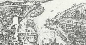 Carte de l'ile aux vaches et de l'île Notre Dame avec l'île Louviers en amont, extraite du plan de Tavernier (1639)