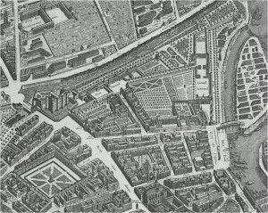Quartier de l'Arsenal, extrait du plan de Turgot - 1739