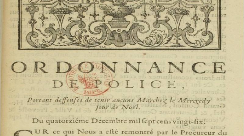 Ordonnance de police du Châtelet en 1726