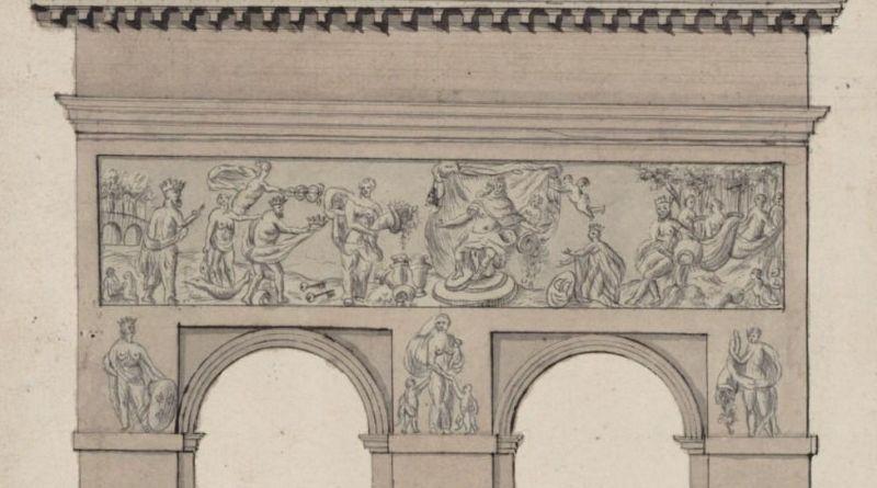 Façade de la porte Saint Bernard côté ville par Fallize le Romain en 1767
