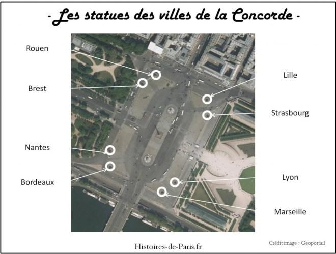 Plan des statues des villes de la Concorde