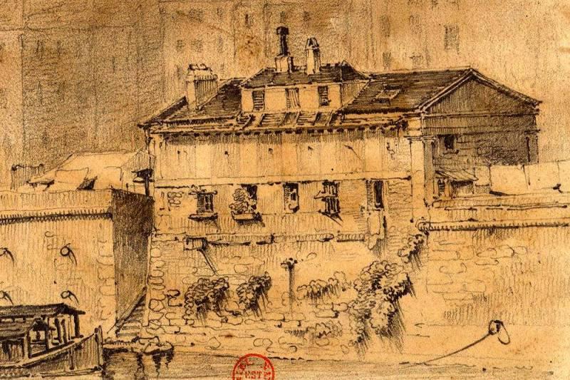 La morgue du Marché Neuf, vue du quai St Michel à Paris 1829