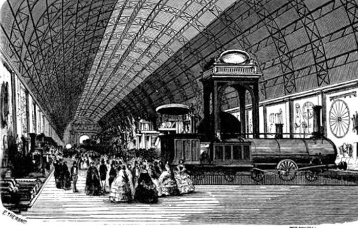 intérieur de l'annexe de l'industrie de l'exposition universelle de 1855