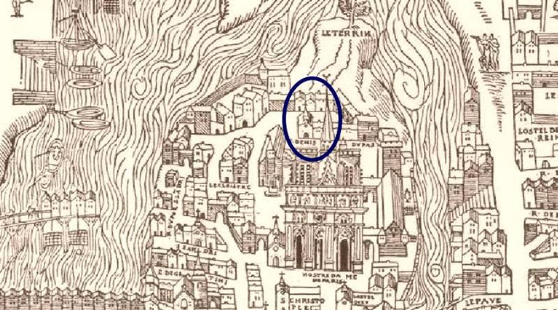 Saint Denis du pas en 1552 extrait du plan de Truchet Hoyaux