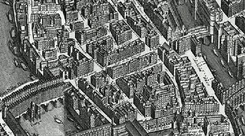 ancien quartier du centre de l'île de la Cité, extrait du plan de Turgot en 1739