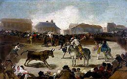 Goya course de taureaux dans un village huile sur toile 1815-1819 Académia San Fernando Madrid (imageWikipedia)