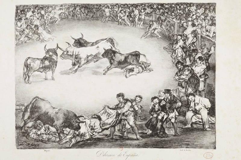 """Goya """"Divertissement espagnol"""" lithographie 1824-25 - Réalisées à Paris en 1824 par Goya, cette série de lithographies portent le nom générique de Bordeaux où est mort réfugié le peintre espagnol, on voit l'ambiance qui pouvait régner à la Barrière du Combat. (imageWikipedia)"""