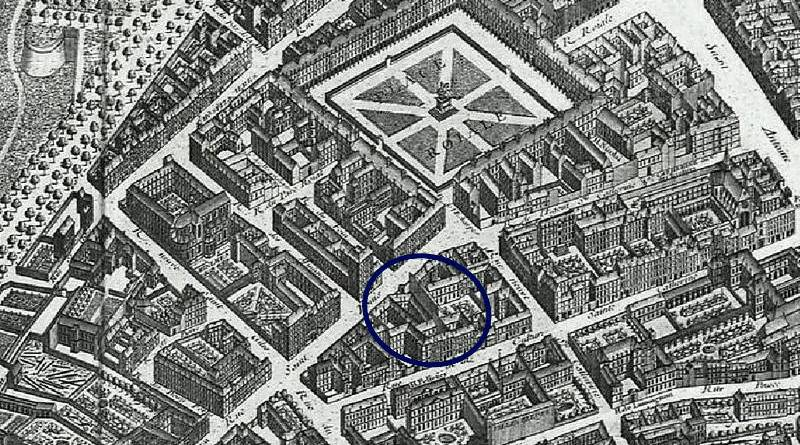 hotel de Joyeuse extrait du plan de Turgot en 1739