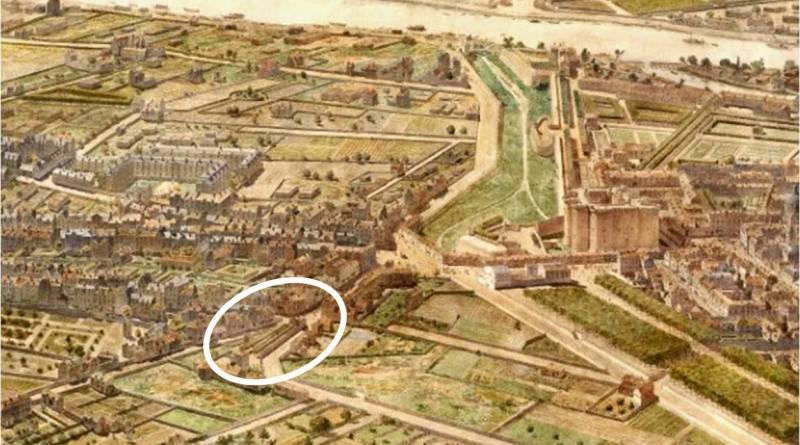 jardin de l'Arquebuse extrait de Faubourg Saint Antoine en 1789 par Fedor Hoffbauer