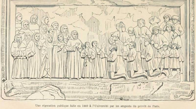 réparation publique de 1440 a l'Université par les sergents du prévot de Paris
