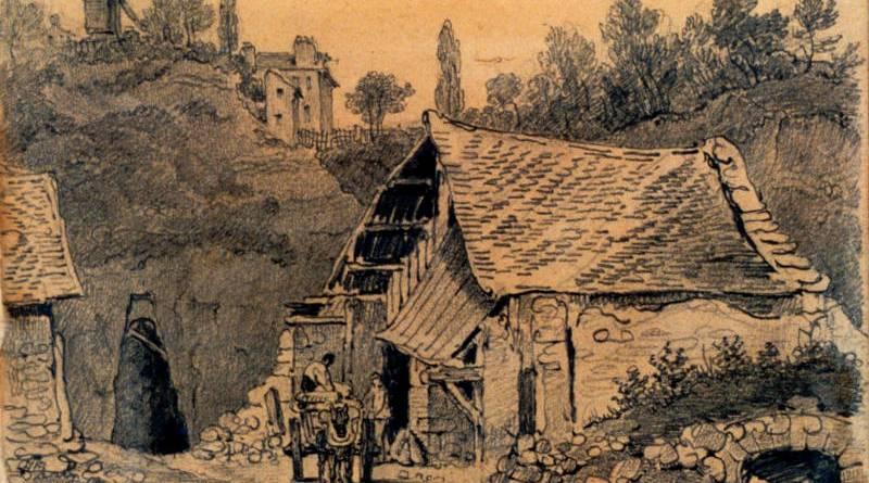 Masure à entrée d'une carrière de Montmartre - 1832