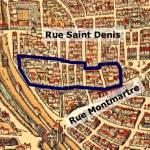 la grande cour des miracles dans le plan de Belleforest en 1575