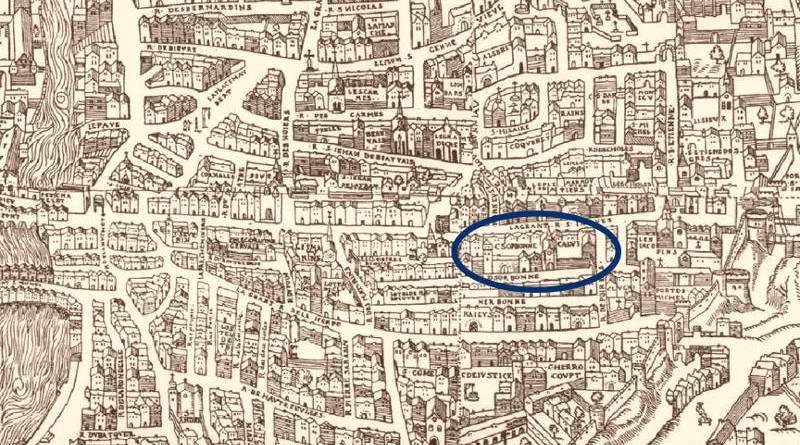 le collège de la Sorbonne extrait du plan de Truchet et Hoyaux en 1552
