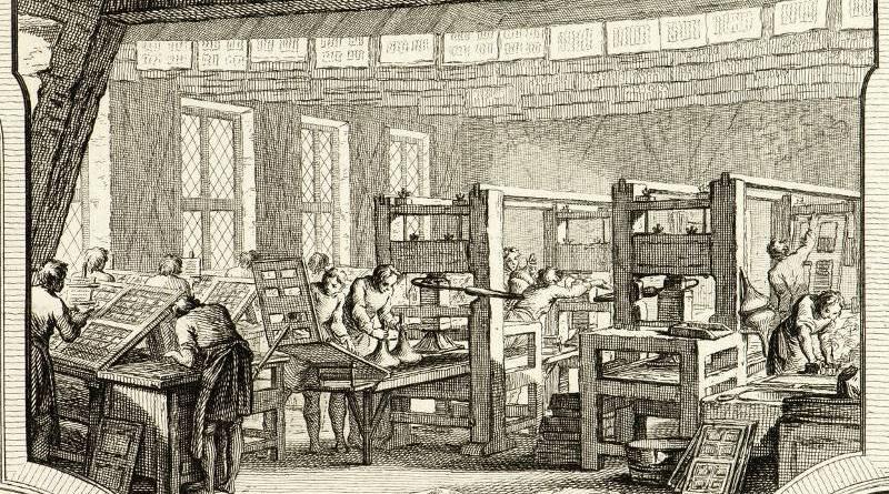 Une imprimerie par Charles Nicolas Cochin