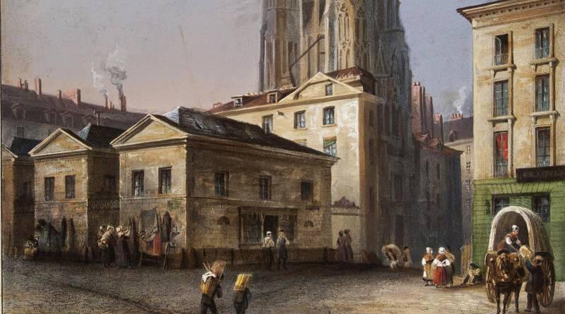 Vue de la tour Saint-Jacques-la-Boucherie par Jean Baptiste Arnout en 1837