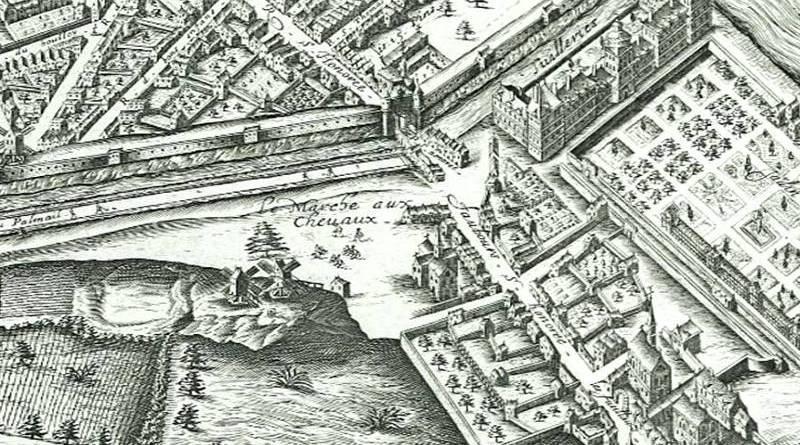 le marché aux chevaux de la butte Saint Roch en 1600 - extrait du plan de Vassalieu de 1609