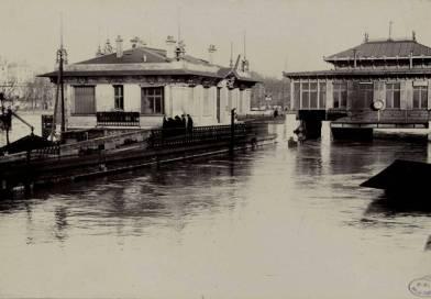 la gare de Javel sur la ligne des Invalides inondée en 1910