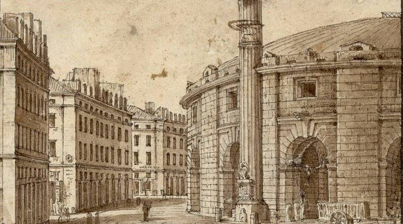 La halle au blé et la colone Médicis par Christophe Civeton au début du XIXe siècle
