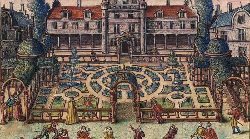Scène de danse devant les jardins par Van der Borcht et Peeter