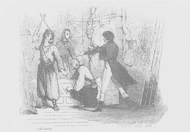 Le directeur du Ranelagh empeche les Cosaques de bruler le théatre en 1814 - illustration par Gavarni, Daumier, Célestin Nanteui