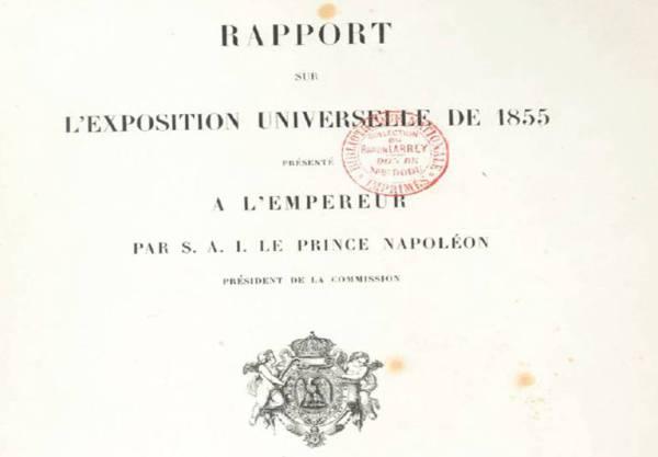 premiere page du rapport de l'exposition universelle de 1855