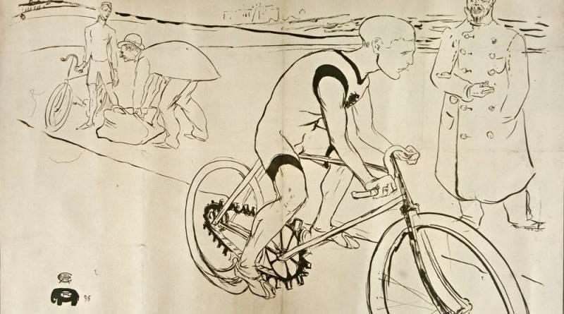 Illustration préparatoire d'affiche pour Cycle Michael par Toulouse Lautrec
