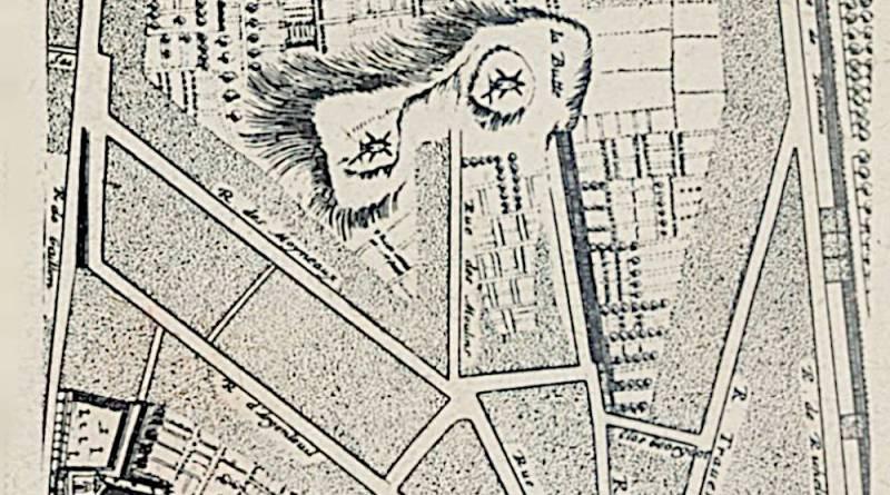 La butte des moulins d'après le plan Gamboust en 1652