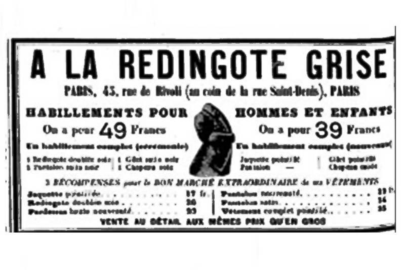 publicité de la redingote grise