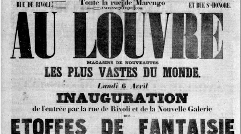 publicité du magasin de nouveauté du Louvre