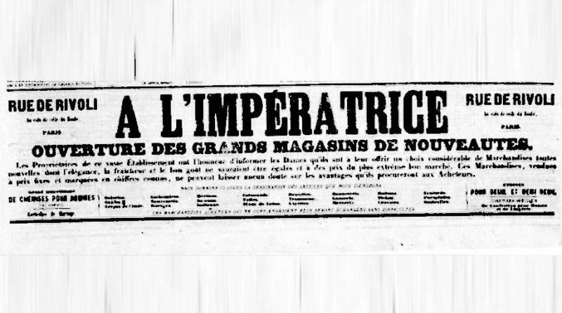 publicité du magasin de nouveautés A l'Impératrice