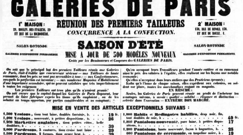 publicité pour les Galeries de Paris