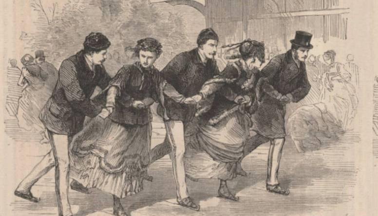 Patinage à cinq extrait du Monde illustré du 11 janvier 1868