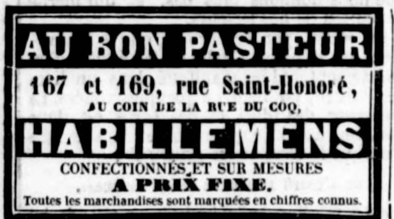 publicité pour le magasin Au bon Pasteur publiée dans la Gazette de France du 21 septembre 1847
