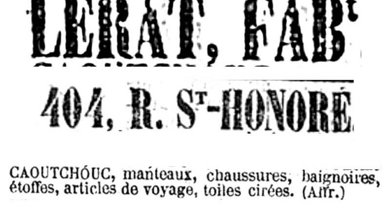 publicité pour la maison Lerat parue dans le Siècle du 5 août 1855