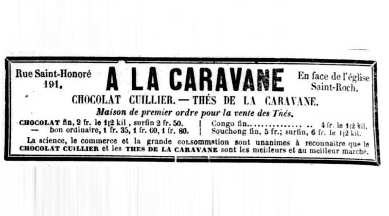 publicité pour le Chocolat Cuillier publiée dans la Gazette du 21 octobre 1864
