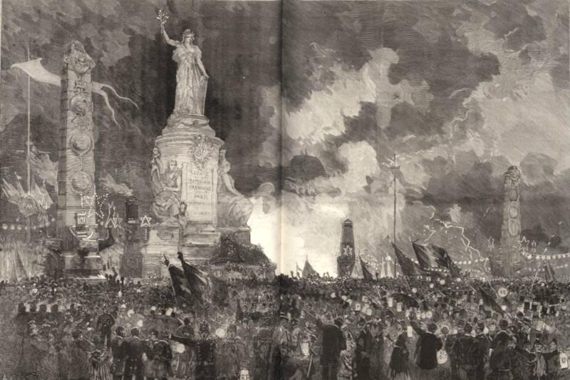 la première inauguration de la Statue de la République le 14 juillet 1880 - extrait du Monde Illustré du 24 juillet 1880