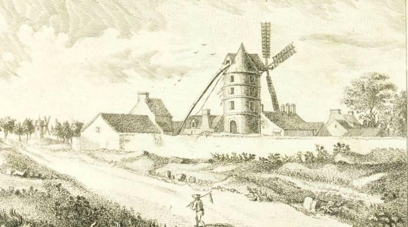 Moulin de l'Hôpital de Paris, sur le chemin de Choisy d'après Simon Mathurin Lantara