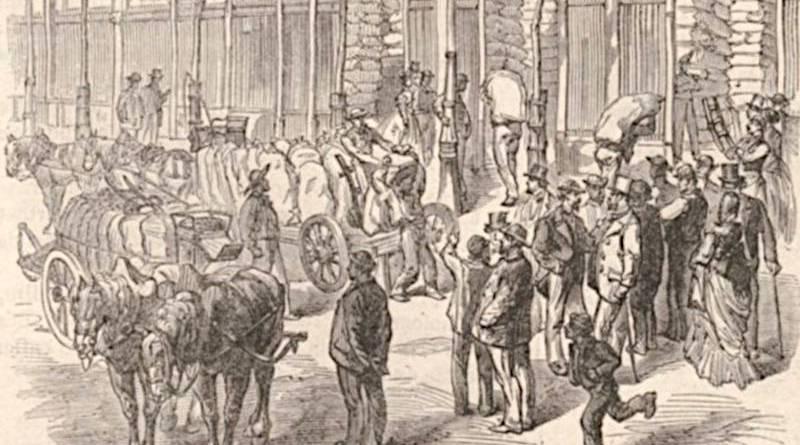 emmaganisage des farines aux Halles extrait du Monde illustré du 10 septembre 1870
