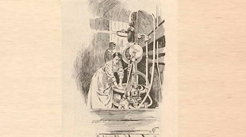 essoreuse au bateau-lavoir extrait du Monde illustré du 30 décembre 1899