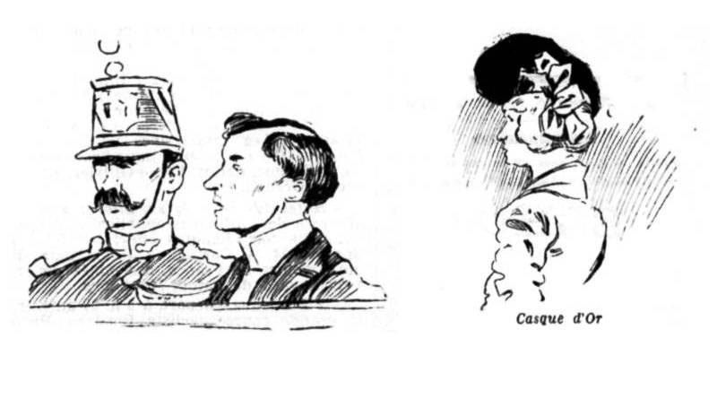 croquis des protagonistes du procès des Apaches en mai 1902 extrait du Mot d'ordre du 31 mai 1902