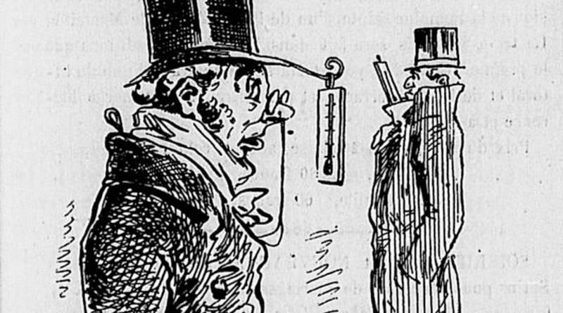 précaution à prendre face aux variations du froid par Draner extrait de l'Univers illustré du 17 janvier 1880