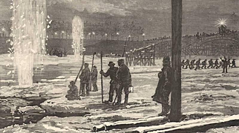 usage de la dynamite sur les glaçons de la Seine gelée - extrait du Monde Illustré du 3 janvier 1880