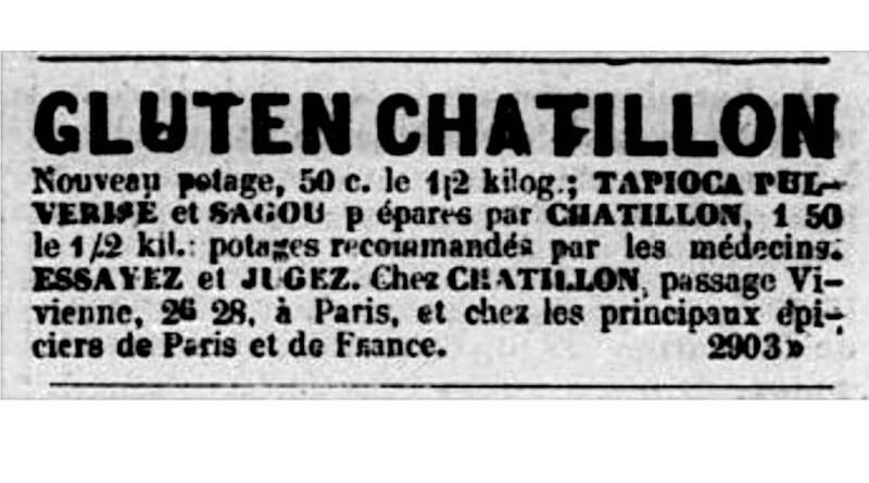 publicité pour le Gluten Chatillon - extrait de la Patrie du 21 décembre 1850