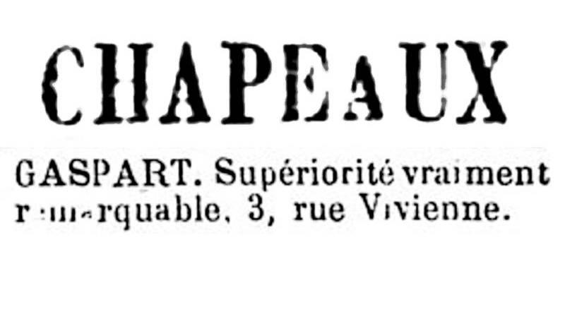 publicité pour le chapelier Gaspart