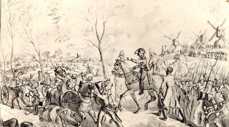 Bataille de Paris, le 30 mars 1814 Vue du chemin de Clichy estampe de Langlume