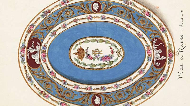 plat à rave en porcelaine de Sèvres proposé à l'impératrice de Russie