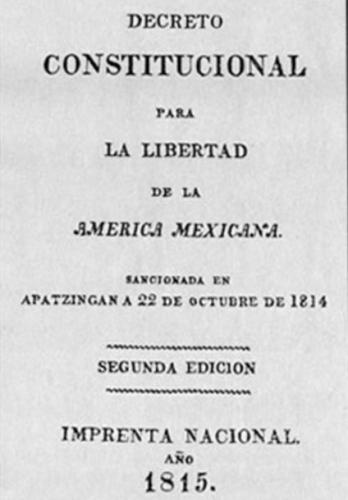 22 Octubre 1814 se promulga la Constitución de Apatzingan en México