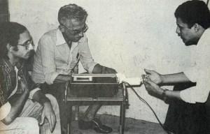 Afrânio Godoy e Romero Vieira Belo, do Jornal de Alagoas, entrevistam o vereador Pedro Marinho Muniz Falcão