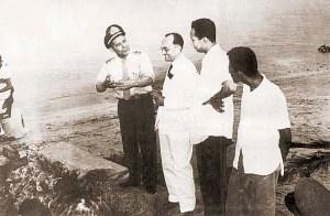 Coronel Mário Lima Conte (pai do CArlito Lima), Théo Brandão e Carivaldo Brandão na operação salvamento do Gogó da Ema em 1955.