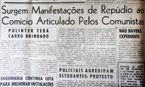 Gazeta de Alagoas de 26 de março de 1964 ataca o comício pelas Reformas de Base em Alagoas